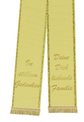 Sort bånd trykt 125 mm x 75 cm gul