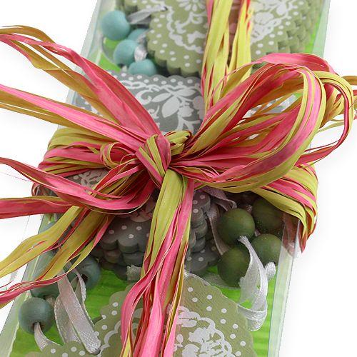Raffia bånd bicolor æble grøn-lyserød 200m