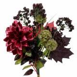 Kunstig buket med dahlia og bær lilla 45 cm