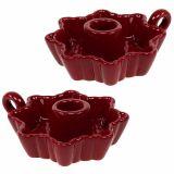 Lysestage keramisk rød Ø12cm 2stk