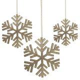 Snowflake guld til ophæng Ø8cm - Ø12cm 9stk