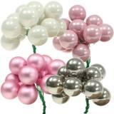 Minijulekugle på wire 40mm lyserød, sølv, hvid 36stk