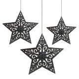 Julestjerne med ornamenter sølvgrå assorterede 8 cm - 12 cm 9stk
