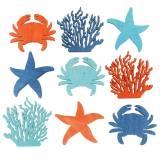 Maritim scatter dekoration træ lys blå, blå, orange assorterede 4cm 72p